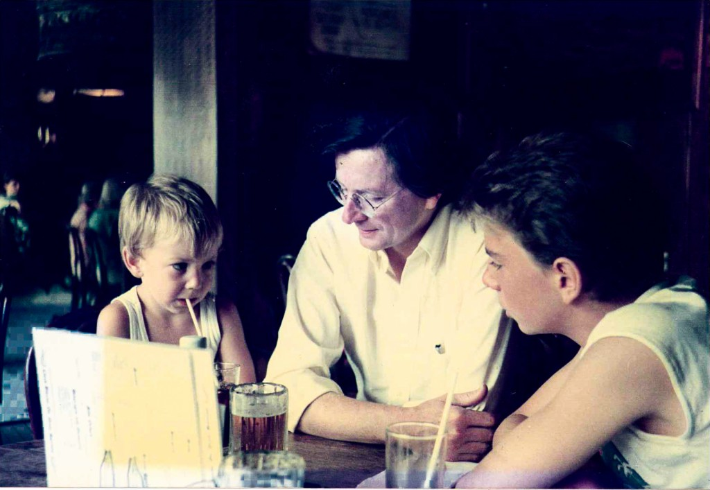 The author with his sons in the White Horse Tavern