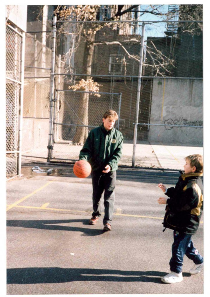 The author's sons, David and Liam, playing basketball in Greenwich Village, aged 16 and 6 respectively